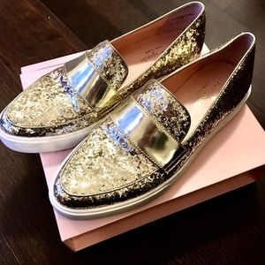 Kate Spade Gold Glitter Loafers/Flats